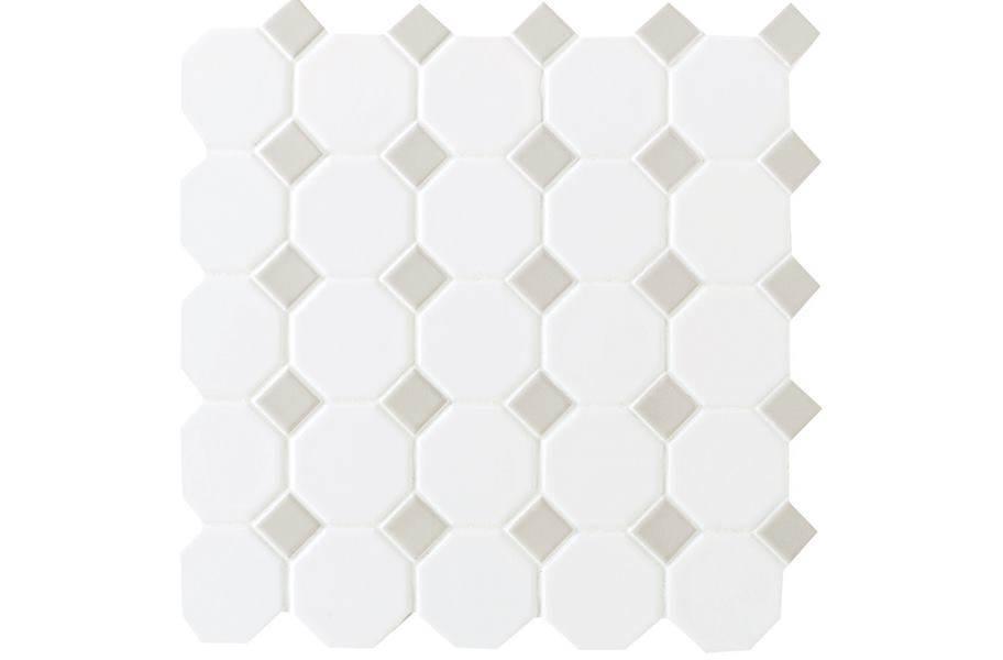 Daltile Octagon Dot - White Octagon/ Gray Gloss Dot