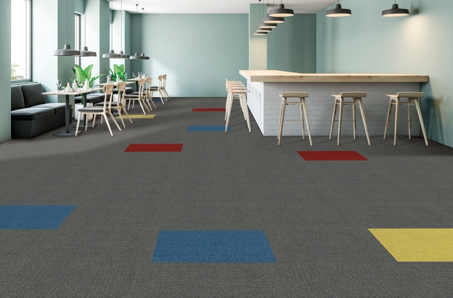 Peel & Stick Accent Carpet - Matisse, Sangria, Goldenrod, & Impressions in Sky Grey