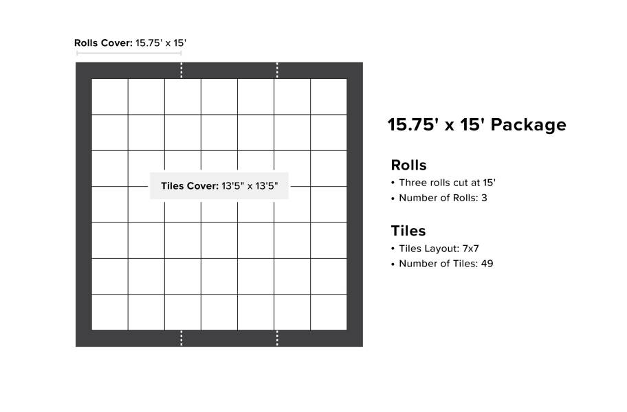 ProStep Dance Floor Package with Subfloor - 15.75' x 15'