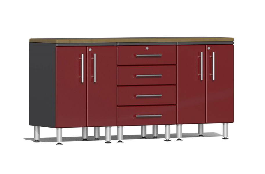 Ulti-MATE Garage 2.0 4-Piece Workstation Kit - Ruby Red Metallic