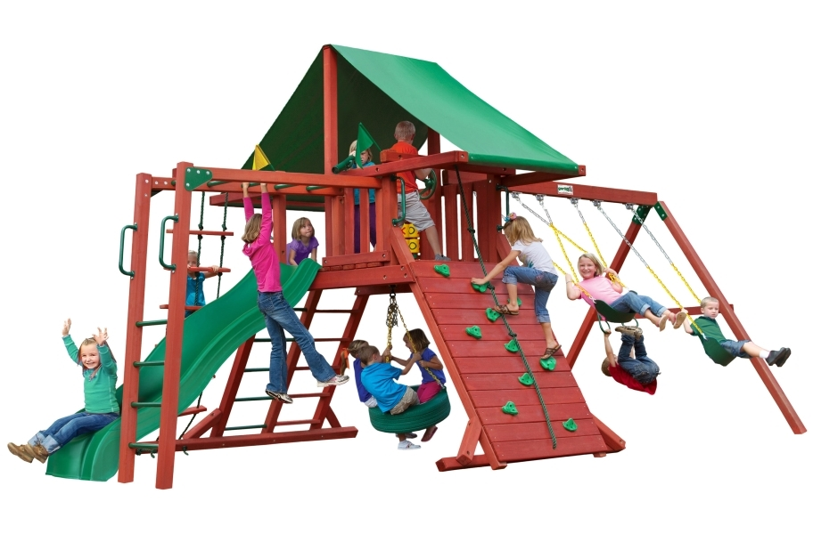 Sun Valley Wooden Swing Set  - With Monkey Bar