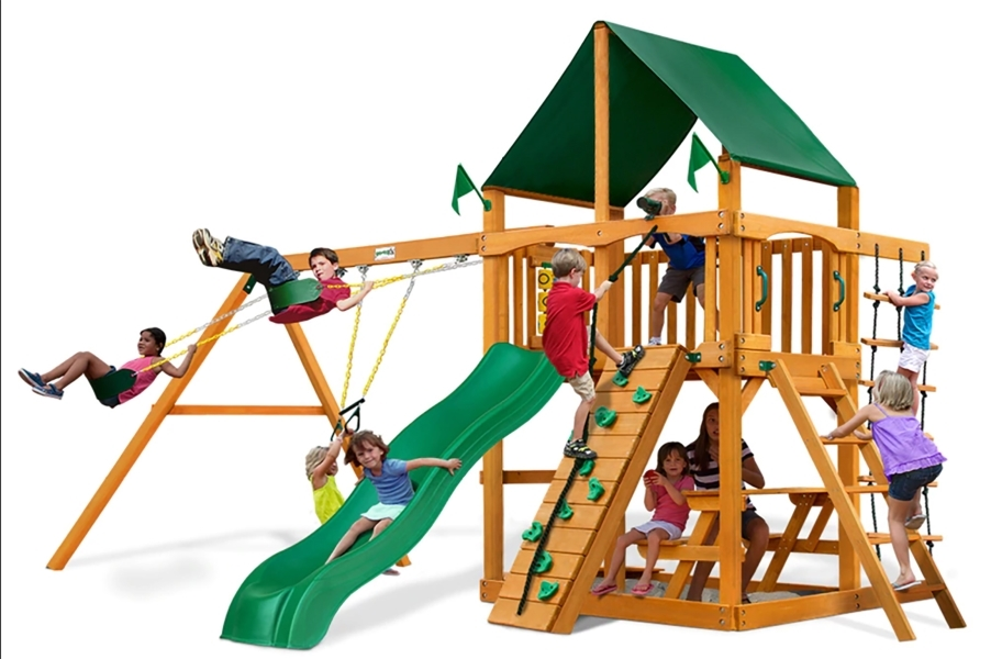 Chateau Swing Set - Canvas Forest Green Canopy