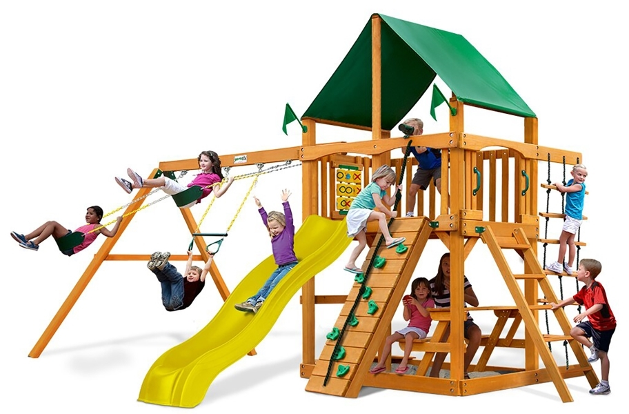 Chateau Swing Set - Deluxe Green Vinyl Canopy