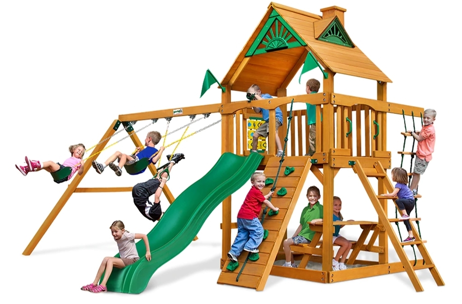 Chateau Swing Set - Treehouse with Green Slide