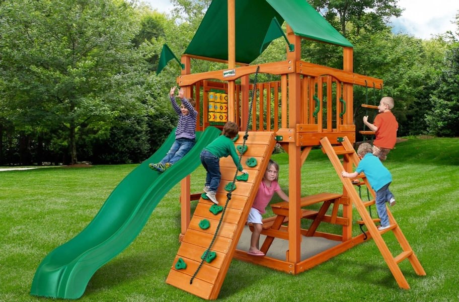 Chateau Tower Playset - Deluxe Green Vinyl Canopy