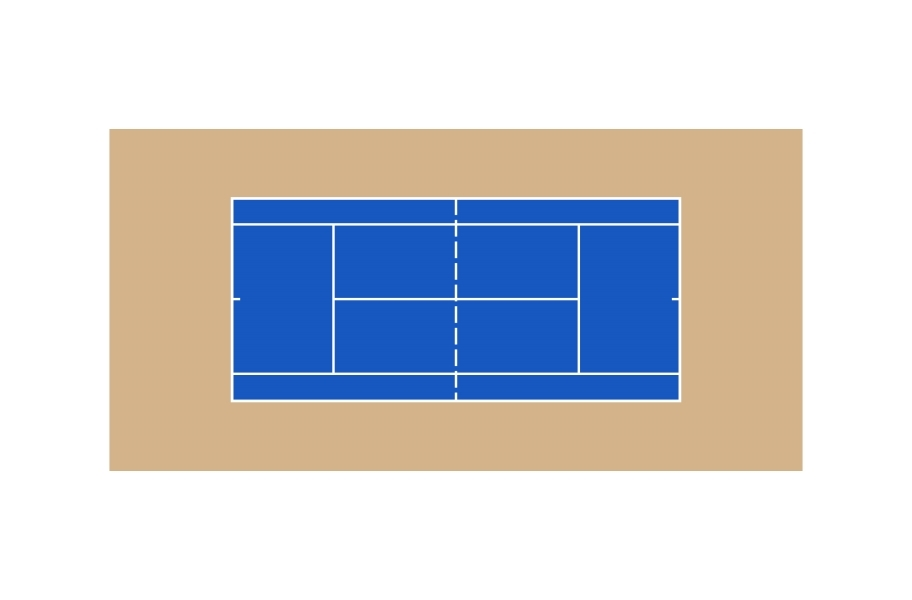 Outdoor Tennis Court Kit - 60' x 120' - Shelby Blue/Camel's Back with Lines