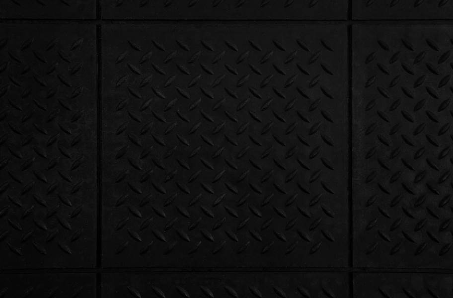 "5/8"" Diamond Plate Evolution Rubber Tiles - Black"