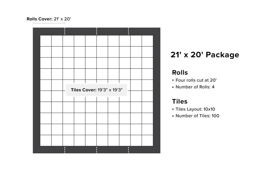 VersaStep Dance Floor Package with Subfloor - 21 x 20