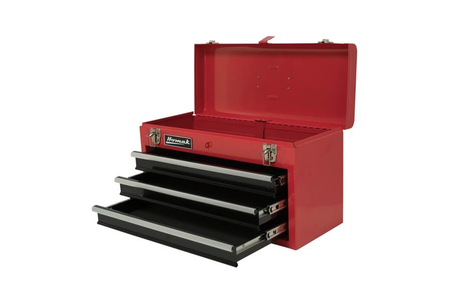 Homak Ball Bearing Toolbox w/Drawers - 3-Drawer Red