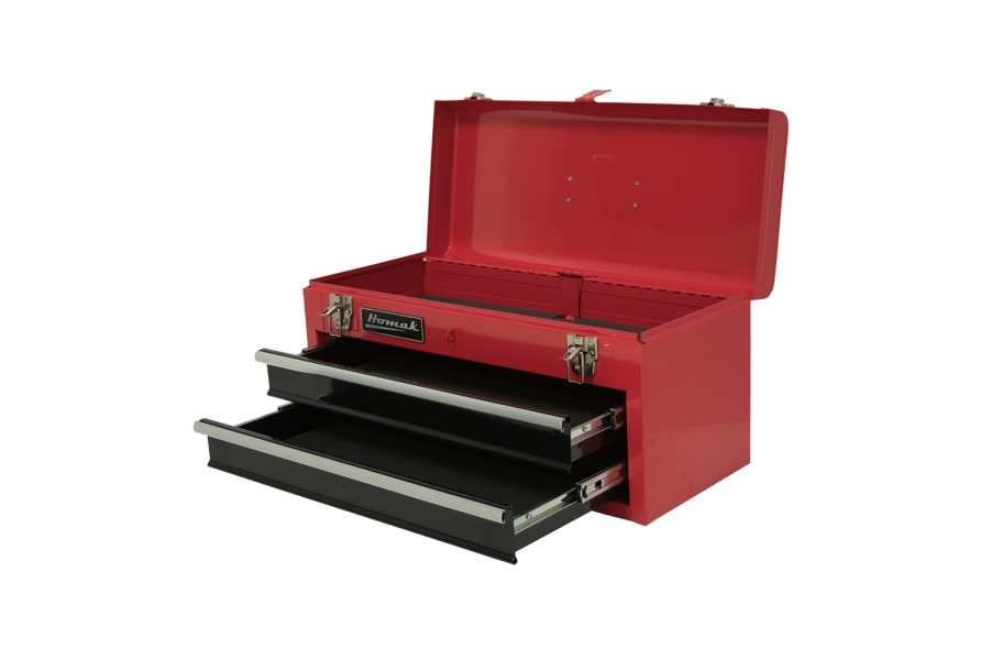 Homak Ball Bearing Toolbox w/Drawers - 2-Drawer Red