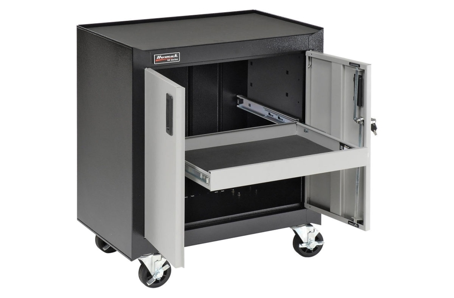 Homak 2-Door Mobile Cabinet w/Pull Out Drawer