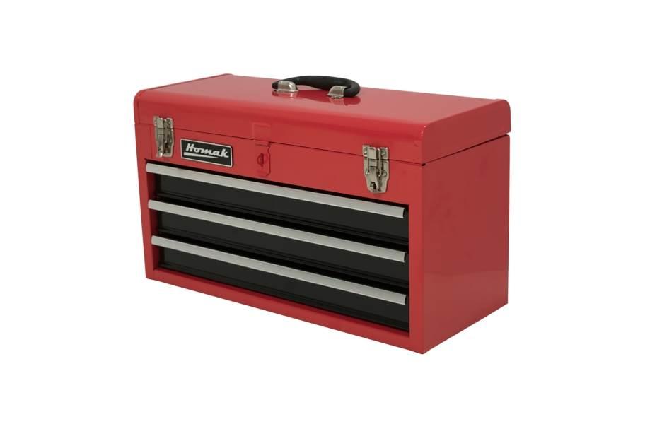 Homak Ball Bearing Toolbox w/Drawers - 3-Drawer Red