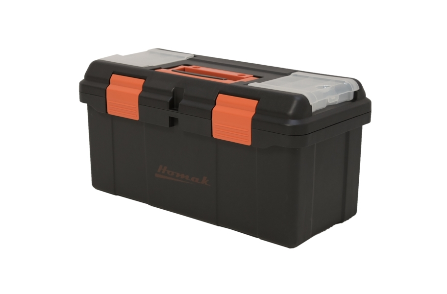 Homak Black Plastic Toolbox with Beveled Lid
