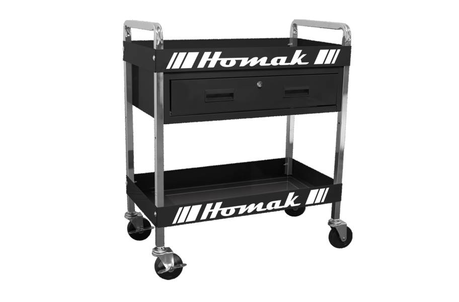 Homak Steel 1-Drawer Service Cart - Black