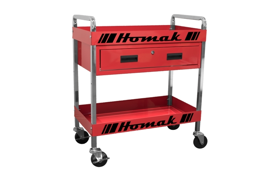 Homak Steel 1-Drawer Service Cart - Red