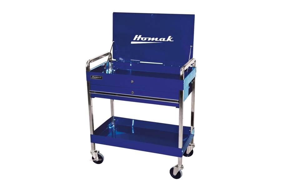 Homak Pro 1-Drawer Flip Top Service Cart - Blue