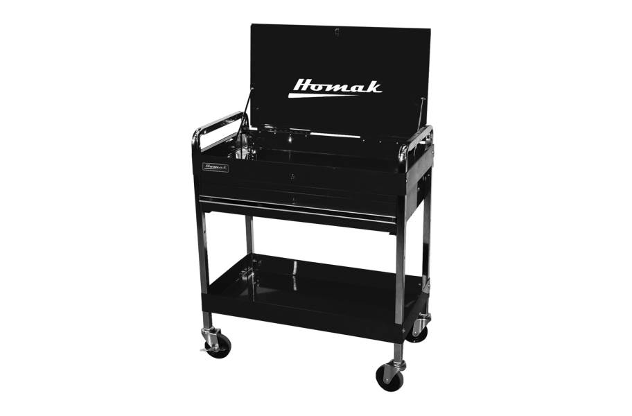 Homak Pro 1-Drawer Flip Top Service Cart - Black