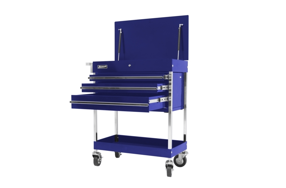 Homak Pro 3-Drawer Flip Top Service Cart - Blue