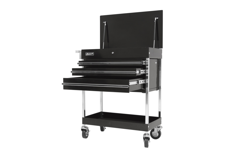 Homak Pro 3-Drawer Flip Top Service Cart - Black