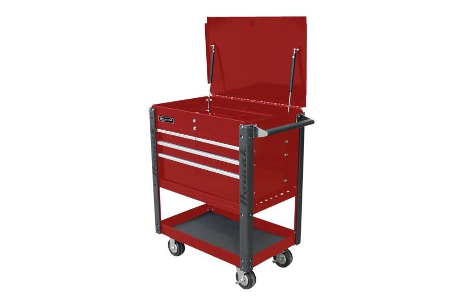 Homak Pro 4-Drawer Service Cart - Red