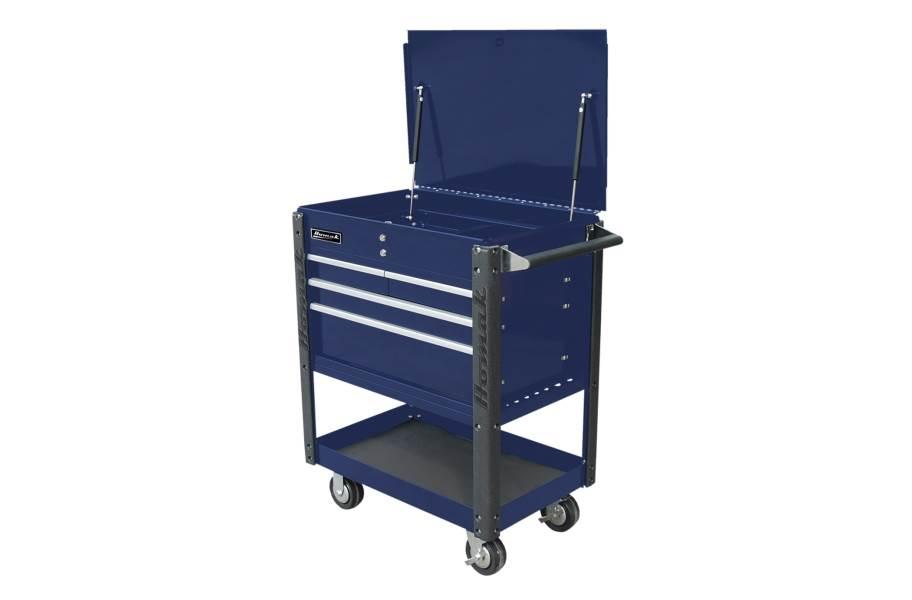 Homak Pro 4-Drawer Service Cart - Blue