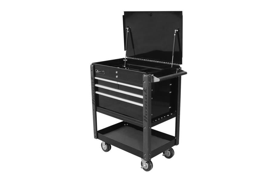 Homak Pro 4-Drawer Service Cart - Black