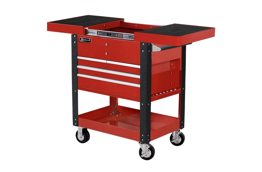 Homak Pro 4-Drawer Slide Top Service Cart - Red