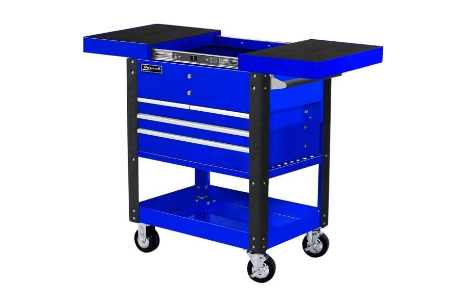 Homak Pro 4-Drawer Slide Top Service Cart - Blue
