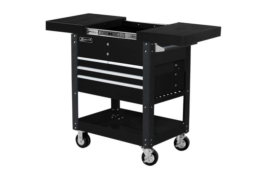 Homak Pro 4-Drawer Slide Top Service Cart - Black