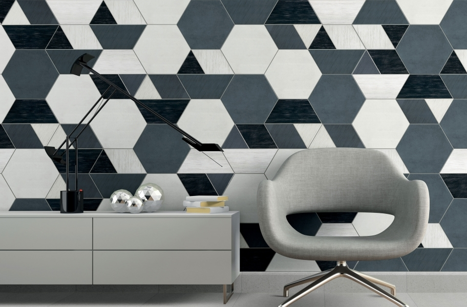Daltile Bee Hive - Grey, White, Multiplex Black/White