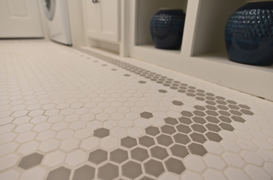 Daltile Color Wheel Mosaic - Artic White, A. Grey (Customized install)