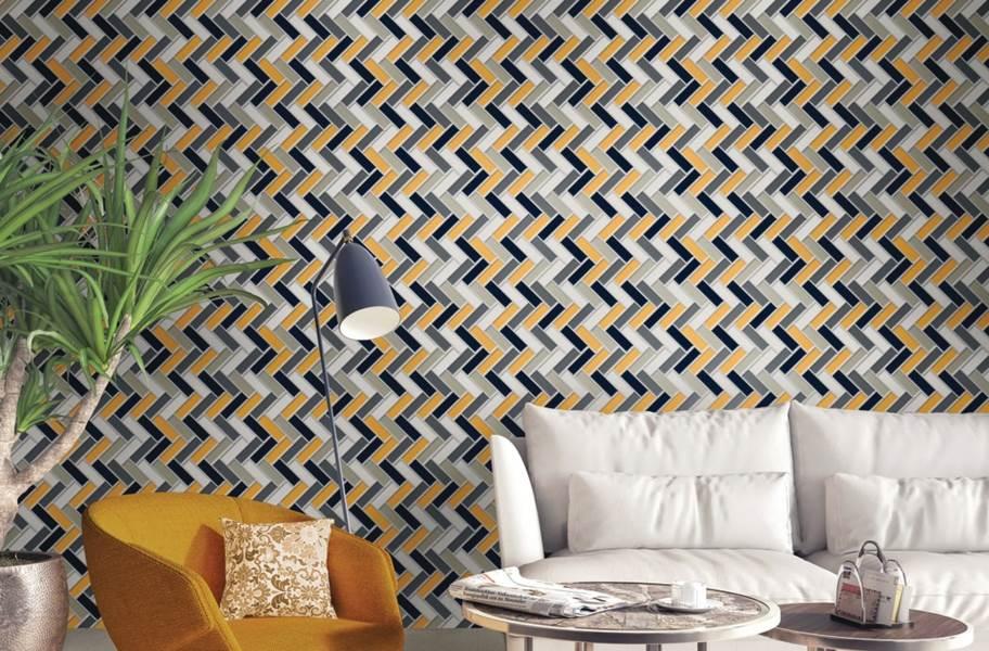 Daltile Color Wheel Mosaic - Custom Blend - Mustard, Navy, A. Gray, A. White, Chalkboard