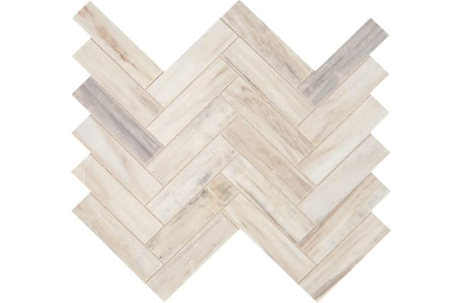 Daltile Fonte Mosaic - Pier White Herringbone