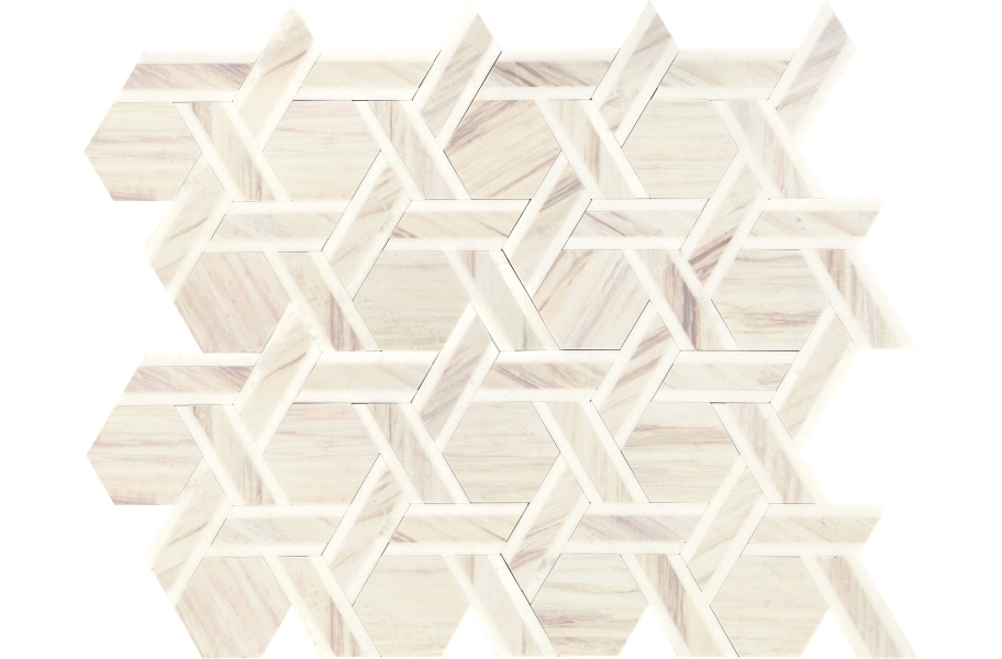 Daltile Fonte Mosaic - Pier White Blend Rotating Hex