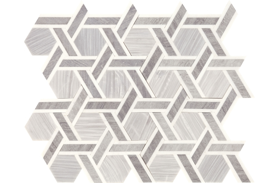 Daltile Fonte Mosaic - Nautical Grey Blend Rotating Hex
