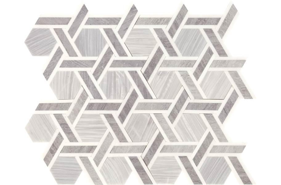 Daltile Fonte Mosaic - Nautical Grey Blend Rotating Hex