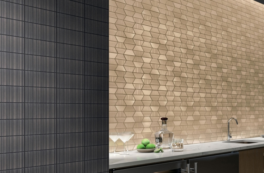 Daltile Industrial Metals - Gold Trapezoid, Iron Grooved