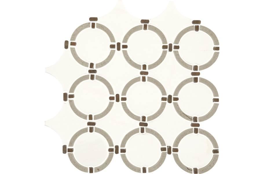 Daltile Raine Mosaic - Linked Ring Stratus White Blend