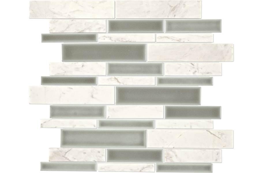 Daltile Raine Mosaic - Random Linear Stratus White Blend