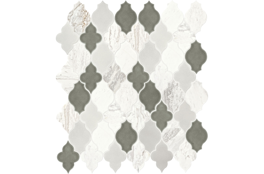 Daltile Raine Mosaic - Arabesque Stratus White Blend