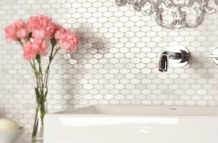 Daltile Stone A' La Mod Mosaic - Contempo White Oval