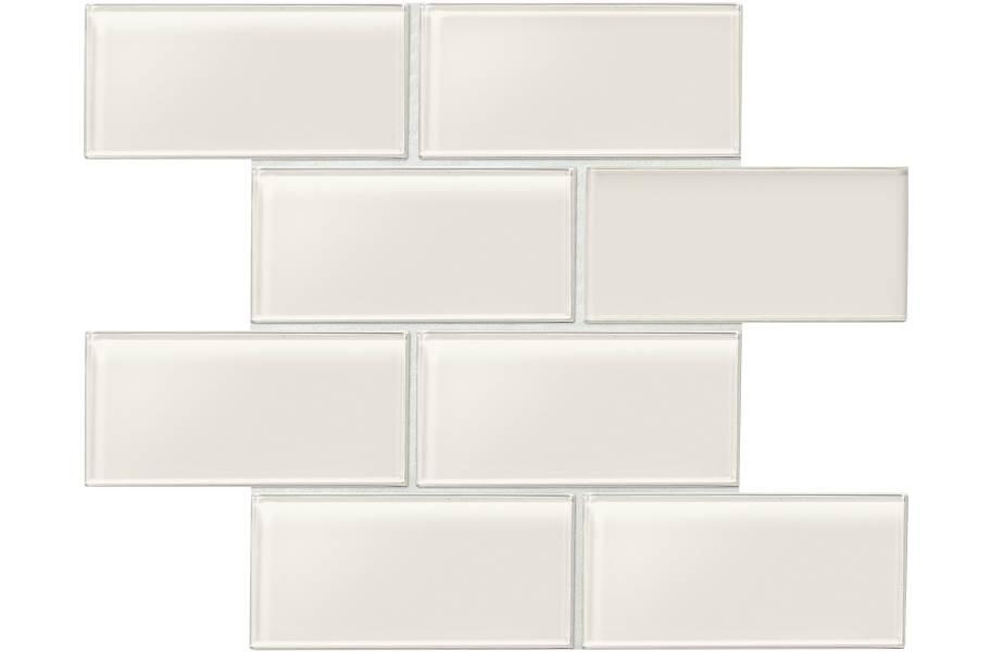 Daltile Amity Glass Mosaic - White Random Linear