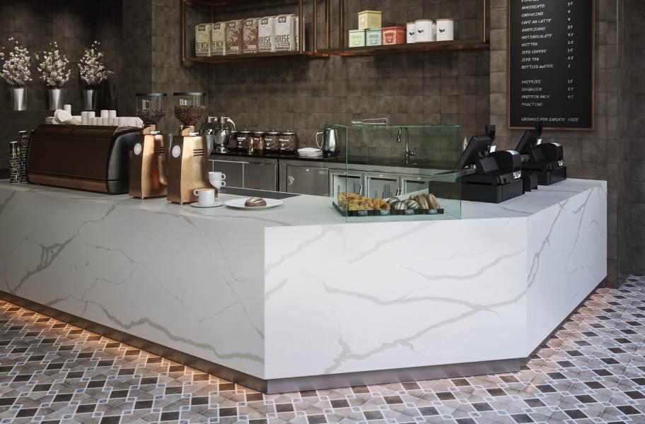 Daltile Quartetto - Cool Rombo (floor), Basalto (wall)