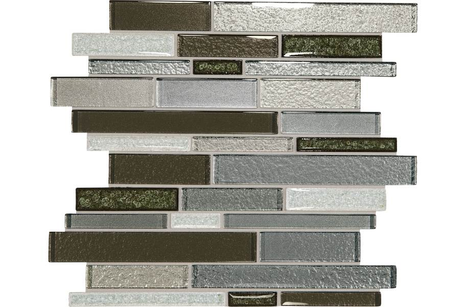Daltile Crystal Shores Glass Mosaic - Random Linear Emerald Isle