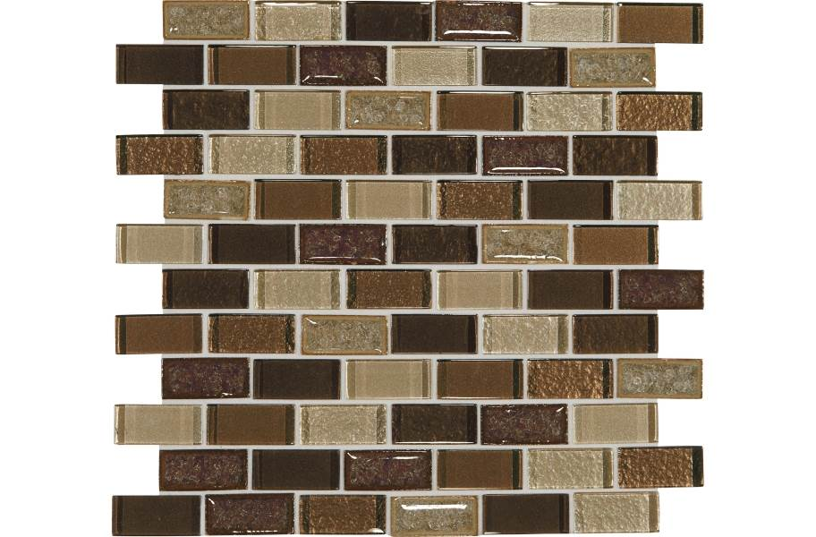 Daltile Crystal Shores Glass Mosaic - Brick Joint Copper Coast