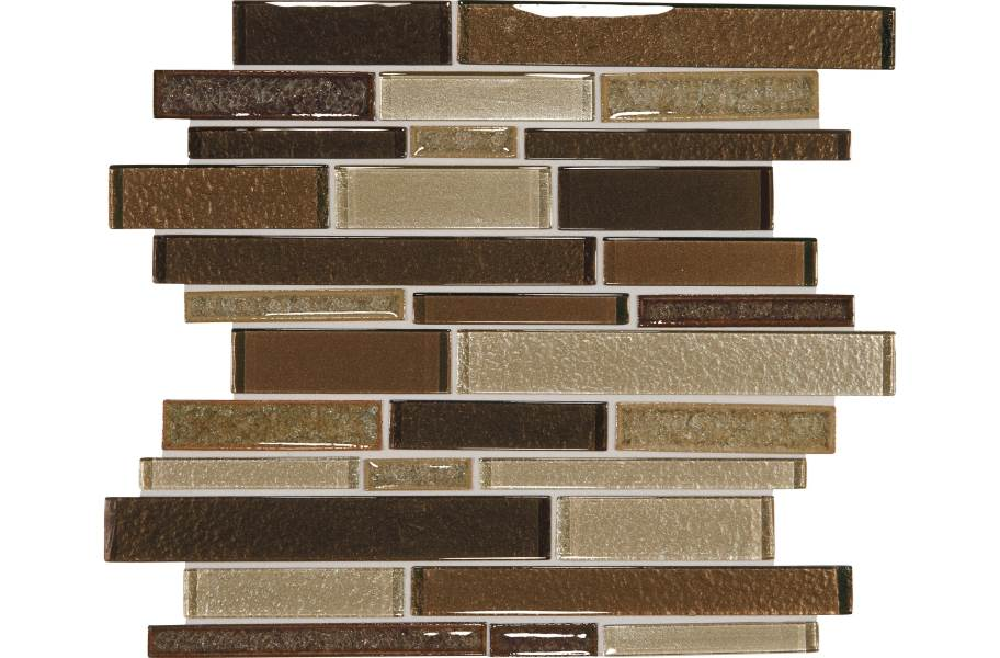 Daltile Crystal Shores Glass Mosaic - Random Linear Copper Coast