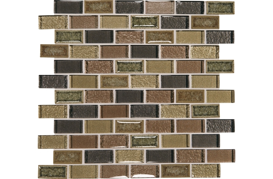 Daltile Crystal Shores Glass Mosaic - Brick Joint Aurelian Seas