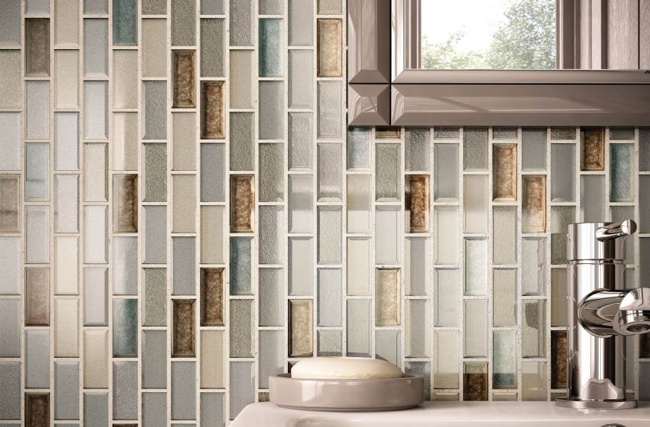 Daltile Crystal Shores Glass Mosaic - Sapphire Lagoon Brick Joint