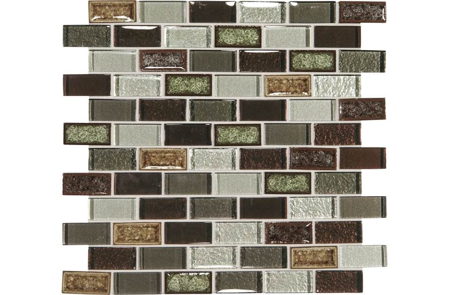 Daltile Crystal Shores Glass Mosaic - Brick Joint Hazel Harbor