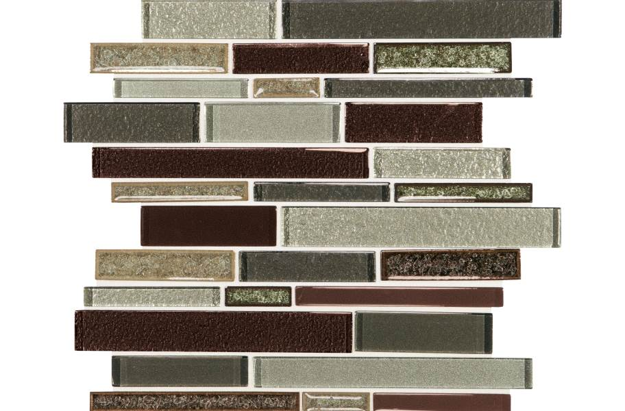 Daltile Crystal Shores Glass Mosaic - Random Linear Hazel Harbor